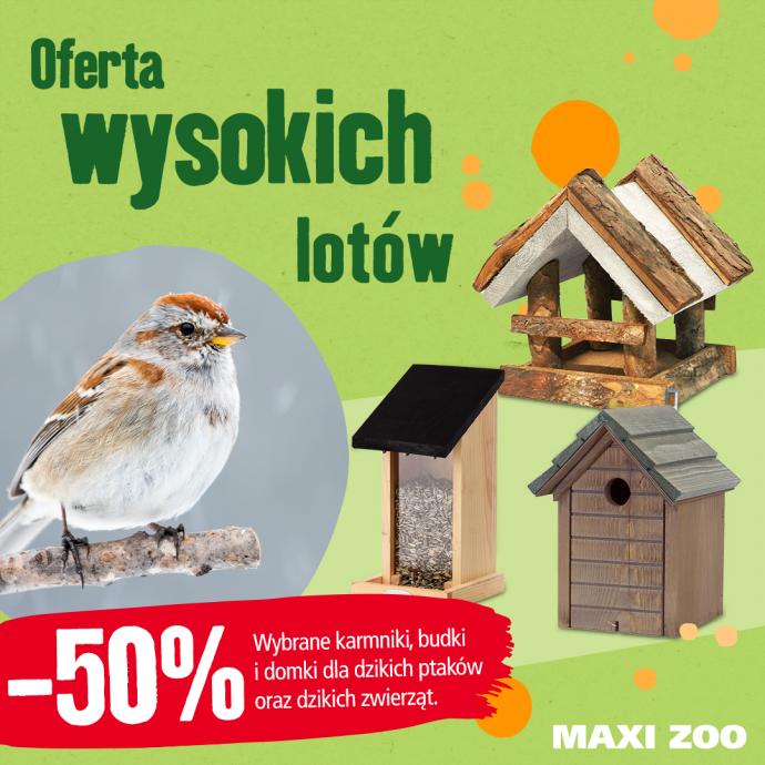 -50% na wybrane karmniki, budki i domki dla dzikich ptaków, wiewiórek, jeży i nietoperzy